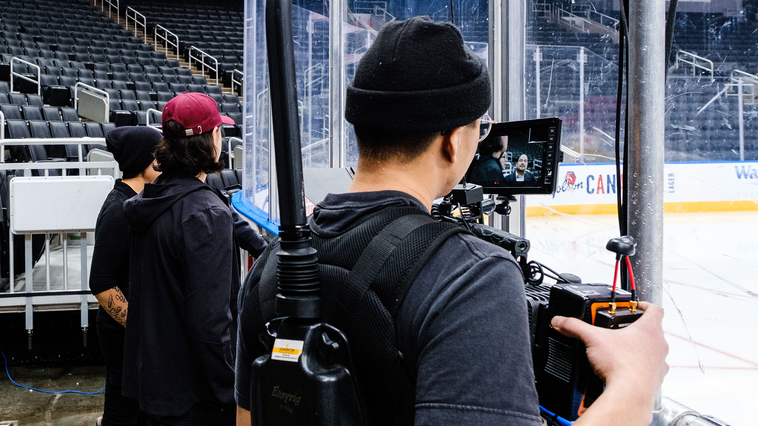 Jeff Khounthavong filming with Ethan Bear in Edmonton
