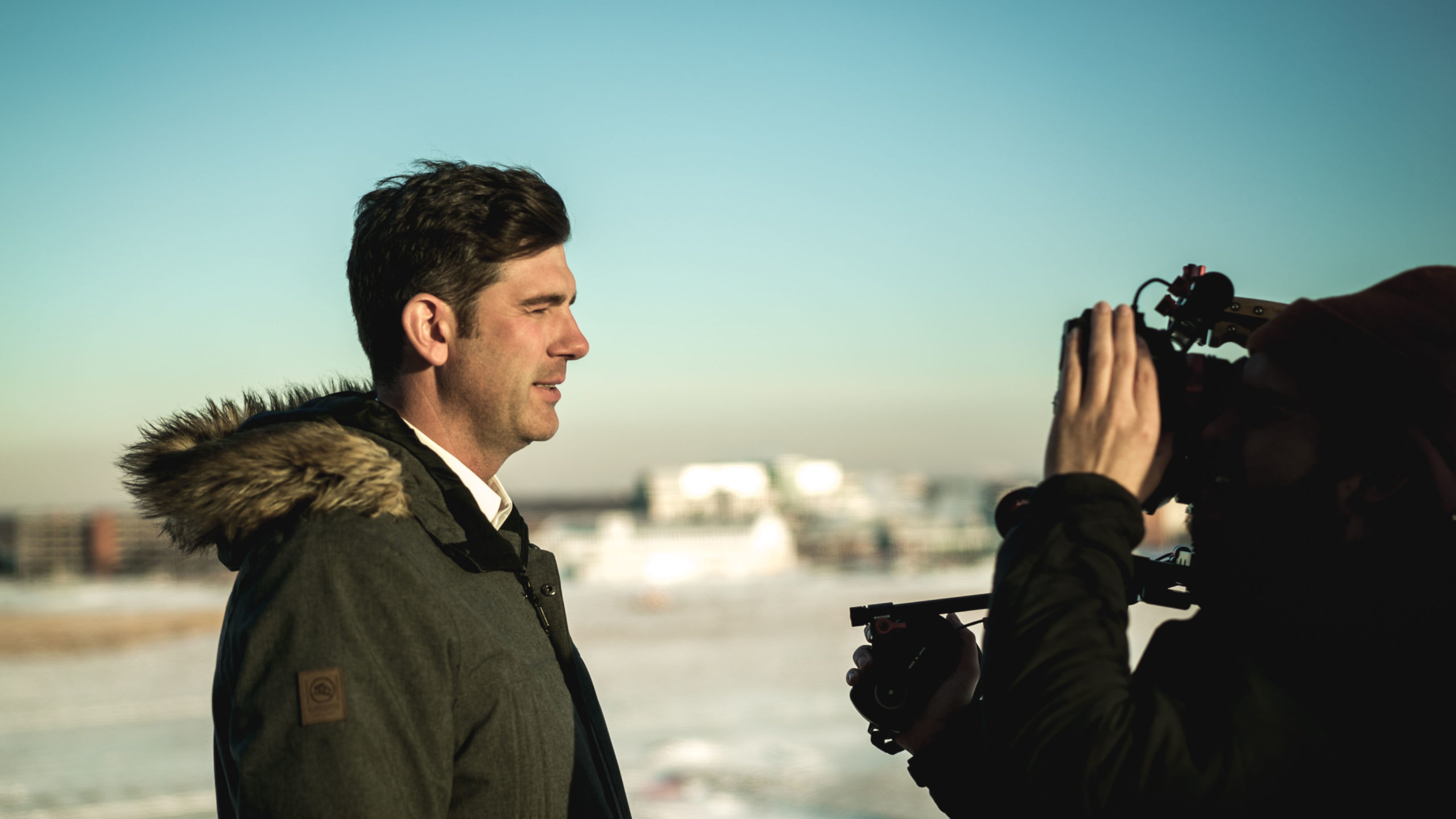 Don Iveson filming Renewable at blatchford tower